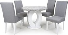 Neville Gloss Round Dining Table 4 Silver Grey