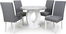 Neville Gloss Round Dining Table 4 Steel Grey