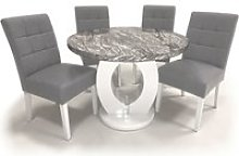 Neville Marble Gloss Round Dining Table 4 Silver