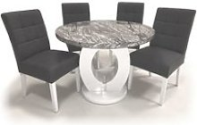 Neville Marble Gloss Round Dining Table 4 Steel