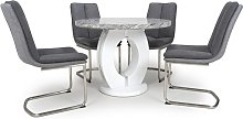 Neville Round Marble Effect Dining Table With 4