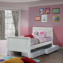 Nevis Single Metal Bed Frame with 2 Drawers - White