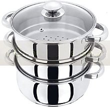 NEW 3PC STAINLESS STEEL STEAMER COOKER POT SET PAN