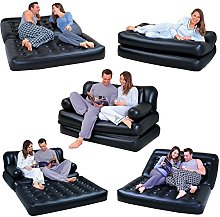 NEW 5 IN 1 DOUBLE BLACK INFLATABLE AIR SOFA CHAIR