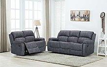 New Atara Grey Fabric Reclining Sofa Suite | 3 + 2