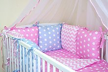 NEW BABY BUMPER MADE OF 6 PILLOWS (COLOURS 28-54)