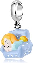 New Charms 925 Sterling Silver Girl Lying on the