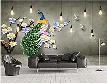 New Chinese 3D Chandelier Green Peacock Background