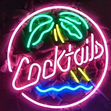NEW COCKTAILS PALM TREE Real Glass Neon Light Sign