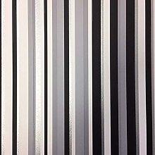 New Debona Stripe Feature Wallpaper Black/Silver