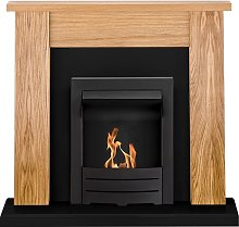 New England Fireplace Suite Oak & Black with