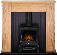 New England Stove Fireplace in Oak with Aviemore