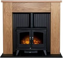 New England Stove Fireplace in Oak with Woodhouse