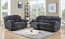 New Falcon Grey Fabric Reclining Sofa Suite | 3 +