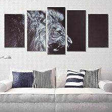 New Fashion 5 Pcs Black Lion Animal Print HD