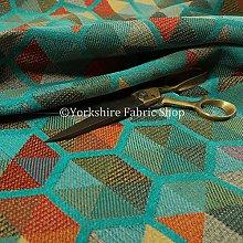 New Furnishing Fabrics Teal Multicolour Chenille