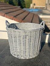 New Grey Wicker Round Basket Waste Paper Newspaper