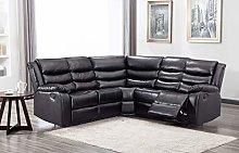 New Landos Black Reclining Leather Corner Sofa