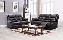 New Landos Black Reclining Sofa Suite   3 + 2
