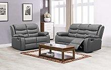 New Landos Grey Reclining Sofa Suite   3 + 2