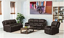 New Marbella Brown 3 Piece Leather Reclining Sofa