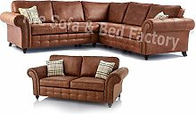 New Oakridge Extra Large 5 Seater Tan Leather