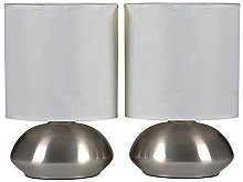New Pair Touch Table Lamps Dimming Stepped Chrome