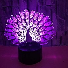 New Peacock 3D Table Lamp Multi-Color Led Visual