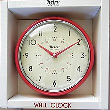 NEW RETRO MODERN WALL CLOCK (Red)