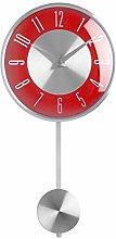 New Retro Red & Silver Pendulum Wall Clock 2200306