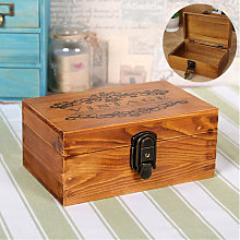New Vintage Wooden Jewelry Box With Metal Lock And