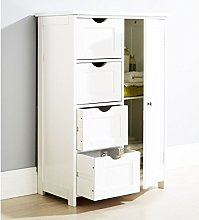 New White Wooden Cabinet Organizer Unit 4 Drawers