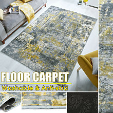New Yellow Gray Abstract Extra Large Floor Mat Rug