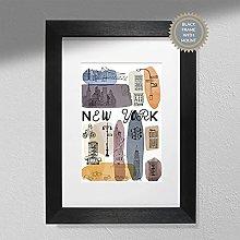 New York Art Print - Map Wall Art   Travel Poster