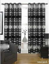 New York Black Lined Ready Made Curtain Pair
