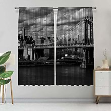 New York Blackout Curtains, Black and White