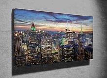 New York City Skyline at Sunset Photo Canvas Print
