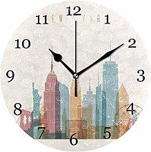 New York City Wall Clock Silent Non-Ticking Round
