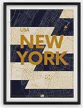 New York Map Framed Print, 65.5 x 49.5cm, Blue