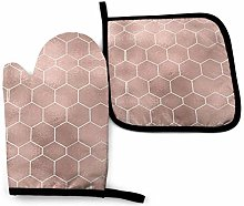 New York Pink Rose Gold Hexagons Kitchen Oven Mitt