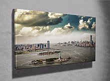 New York view of Liberty Island framed canvas