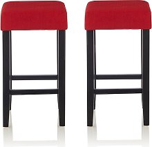 Newark Bar Stools In Red Fabric And Black Legs In
