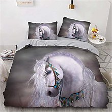 NEWAT 2020 New Horse Duvet Cover, 3D Wild Animal