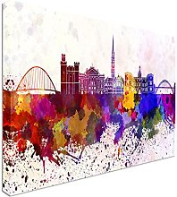 Newcastle skyline in watercolor 40x20inches,
