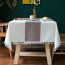 Newisher Cotton Linen Tassels Square Tablecloth