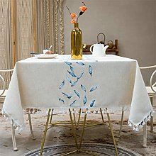 Newisher Embroidered Cotton Linen Tablecloth Blue