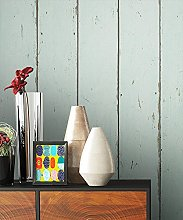 NEWROOM Wallpaper Wood Effect turquoise wooden
