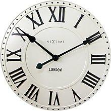 NexTime London Roman Wall Clock, White, 34 x 5 x