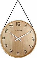 NexTime Wall Clock-Ø 40 cm – Wood/Fabric –