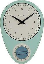 NexTime Wall Clock, Blue, 28 x 19